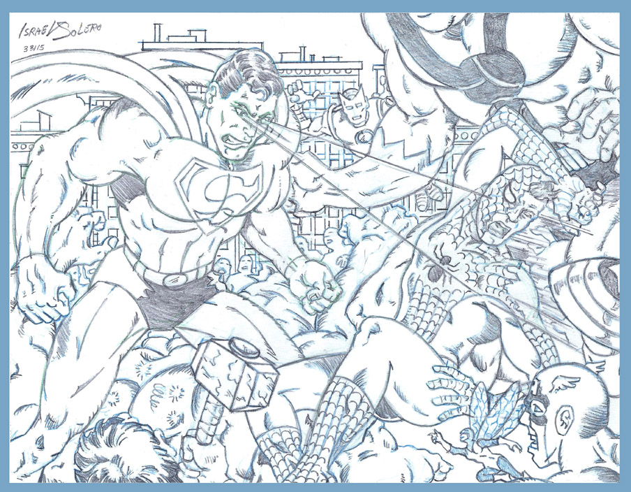 Superman Destroys Spiderman, Hulk & the Avengers (sketch) by jira