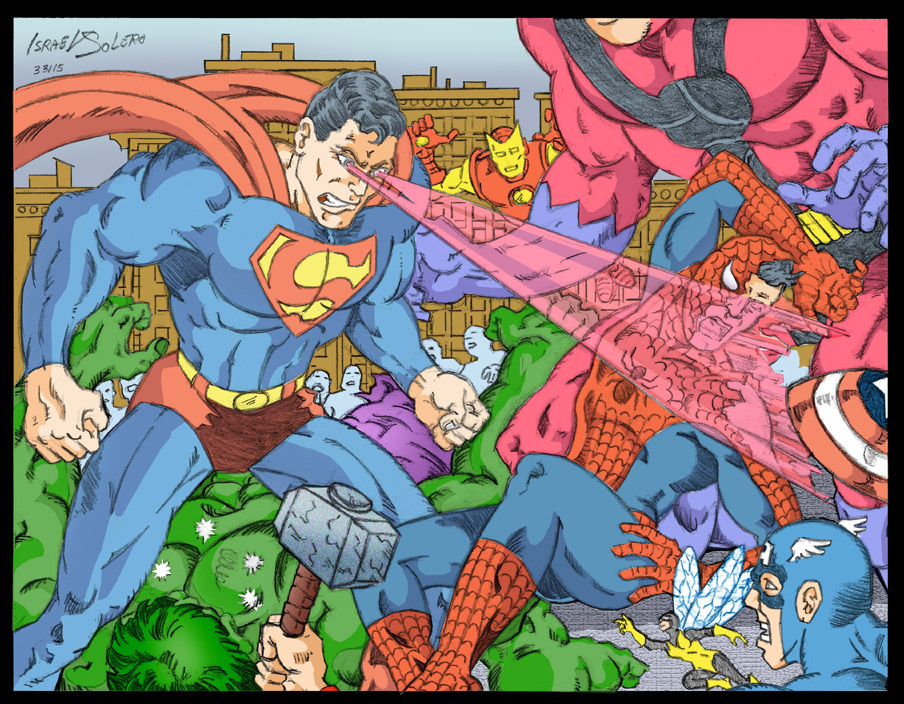 Superman Destroys Spiderman, takes down Hulk & the Avengers (clr) by jira