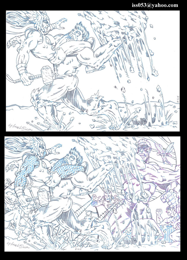 Hulk/Submariner vs. Thor & The Avengers (pencil) by jira