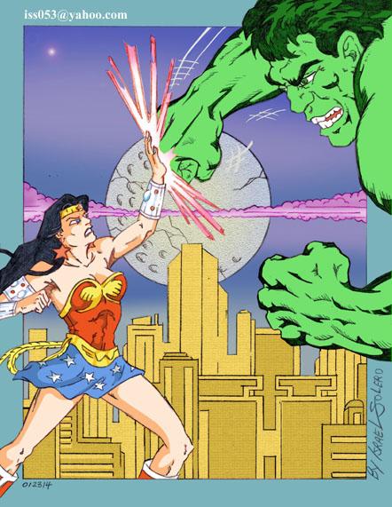 Wonder Woman confronts The Hulk (clr) by jira