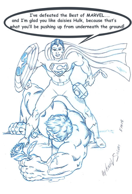 Superman Takes down Marvel Icons & Hulk (pencil) by jira