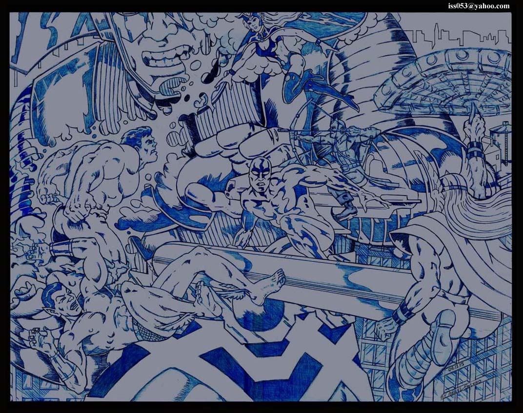 Galactus, Silver Surfer / Storm vs. Hulk, Submariner, Thor (prelim) by jira