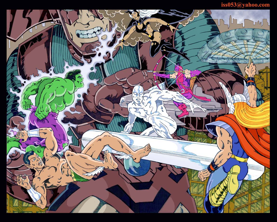Galactus, Silver Surfer & Storm vs. Avengers (clr) by jira