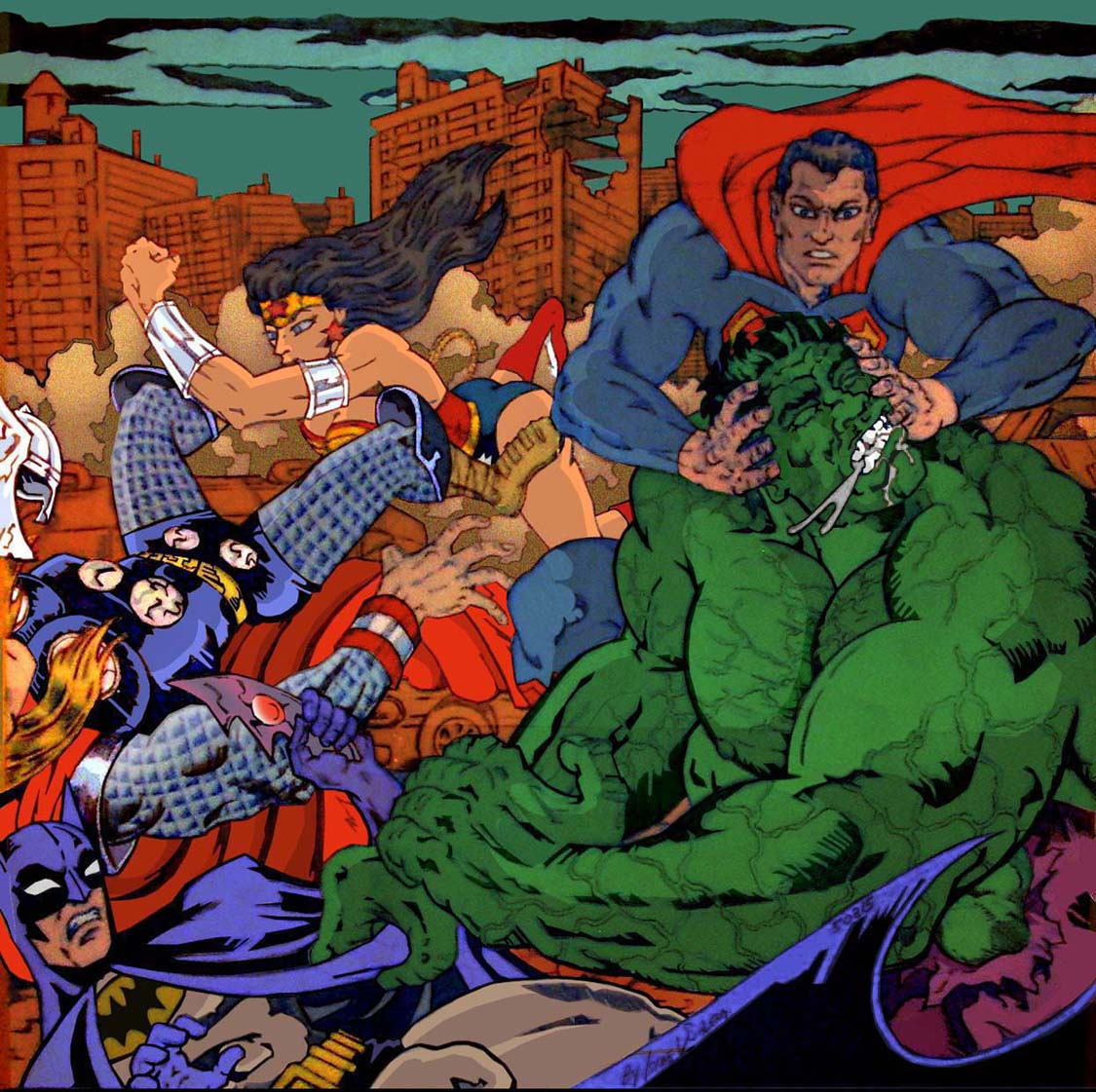 Batman, Superman, Wonder Woman vs. Thor , Hulk (clr) by jira