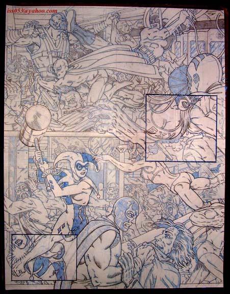 Batman/El Santo vs Bane/Joker & Penquin (pencil) by jira