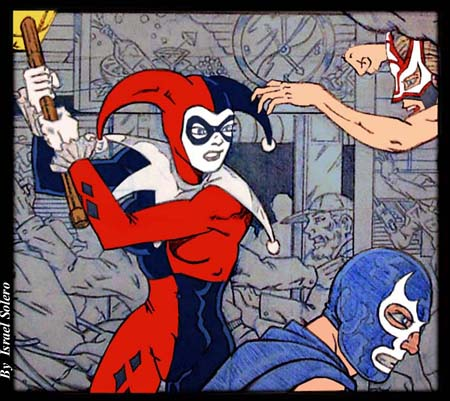 Harley Quinn attacks Blue Demon (panel) by jira