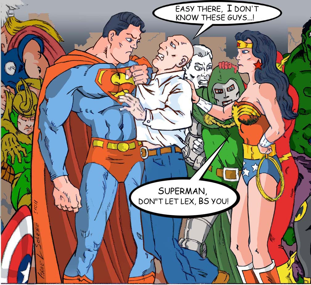 SUPERMAN & WONDER WOMAN Capture Lex Luthor (clr) by jira