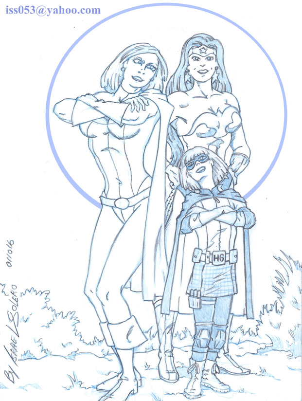 Hit Girl Joins Power Girl & Wonder Woman (sketch) by jira
