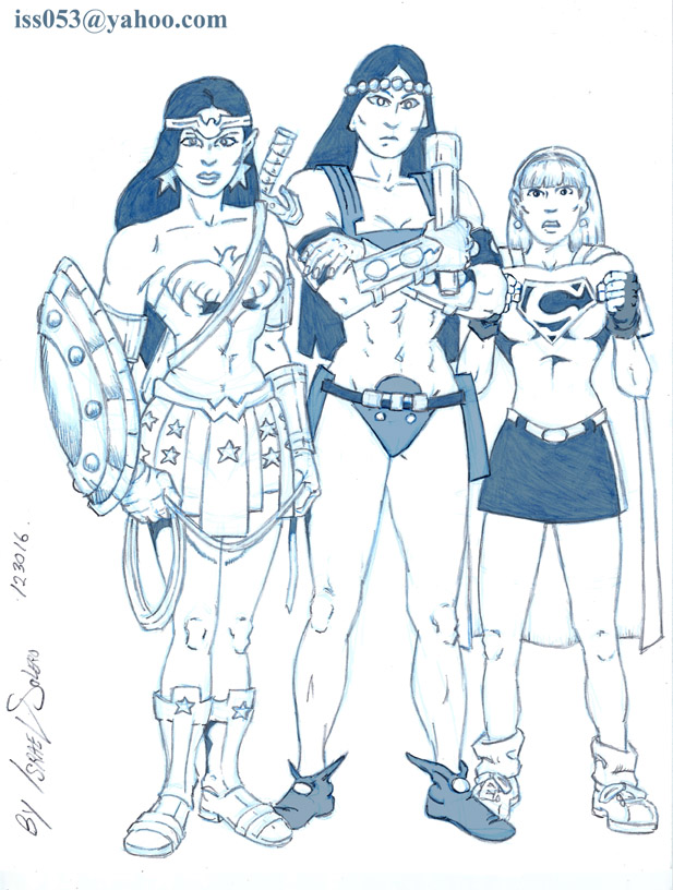 MAIDENS of Power: Wonder Woman, Big Barda & Supergirl (pencil) by jira