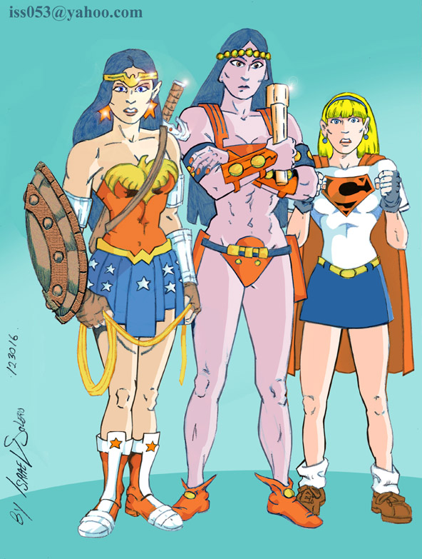 Wonder Woman, Big Barda & Supergirl (colorl) by jira