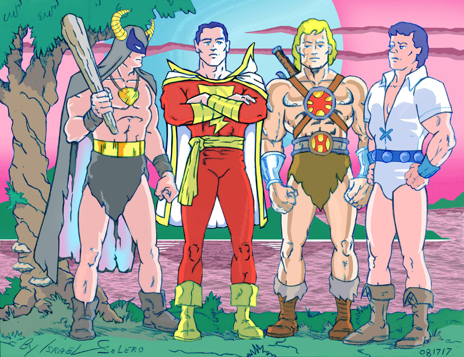 MIGHTOR, Original: CAPTAIN MARVEL, HE-MAN and  YOUNG SAMSON (clr) by jira