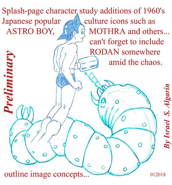 MOTHRA & ASTRO BOY (study srawings) by jira