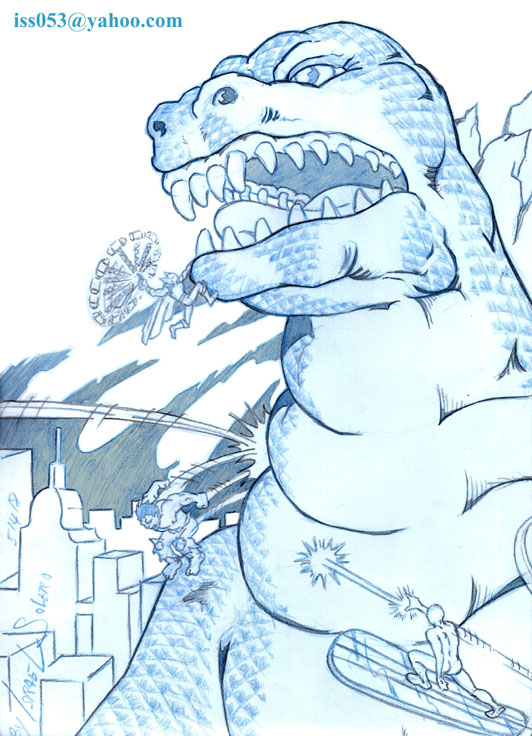 GODZILLA vs HULK, THOR & SILVER SURFER (pencil) by jira