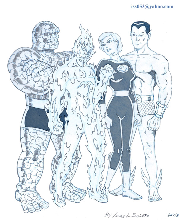 The THING, HUMAN TORCH, INVISIBLE GIRL and SUB-MARINER (pencil) by jira