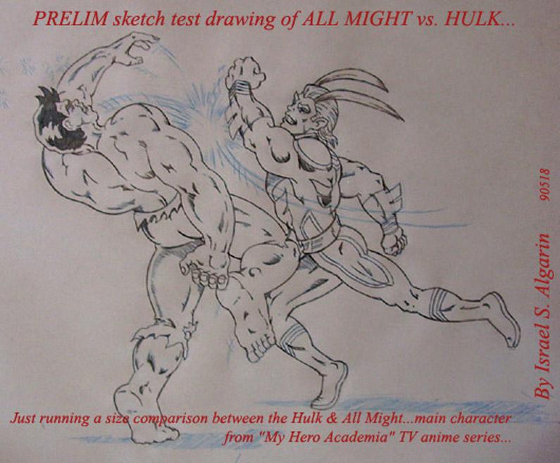 All Might vs. Hulk (pencil) by jira