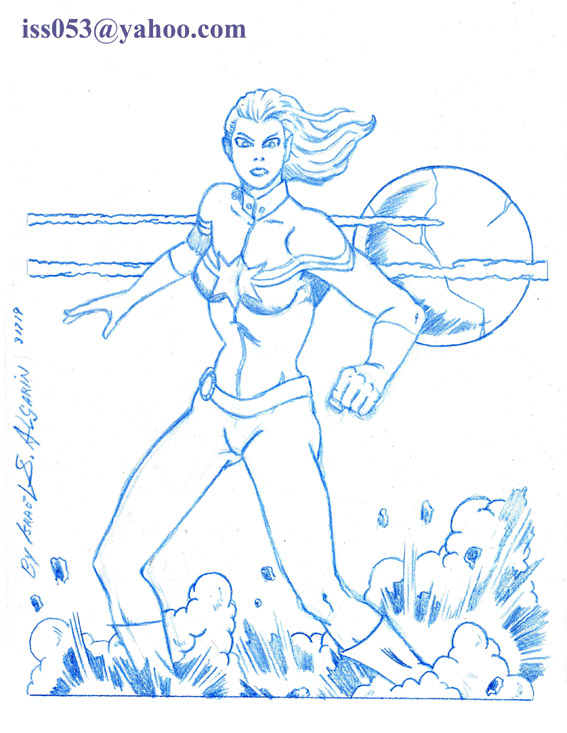 Marvel's Captain Marvel (outline drawing) by jira