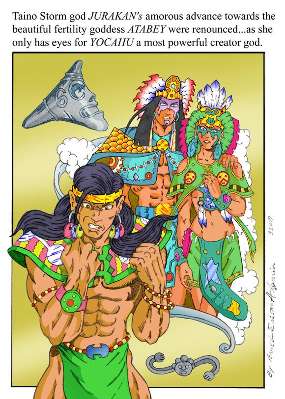 Taino/Arawak: Jurakan, Atabey & Jocahu (clr) by jira