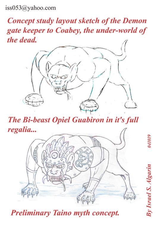 Arawak/Taino: Opiel Guabiron (outline-study) by jira