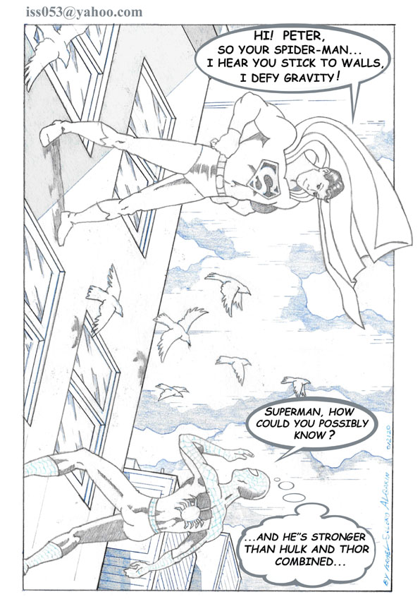 SPIDER-MAN DUMB-FOUNDED BY SUPERMAN (pencil) by jira