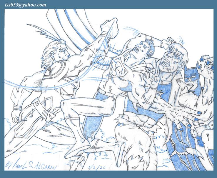 Manga's:  ALL-MIGHT Plows right through SUPERMAN, GRUNDY , BATMAN by jira
