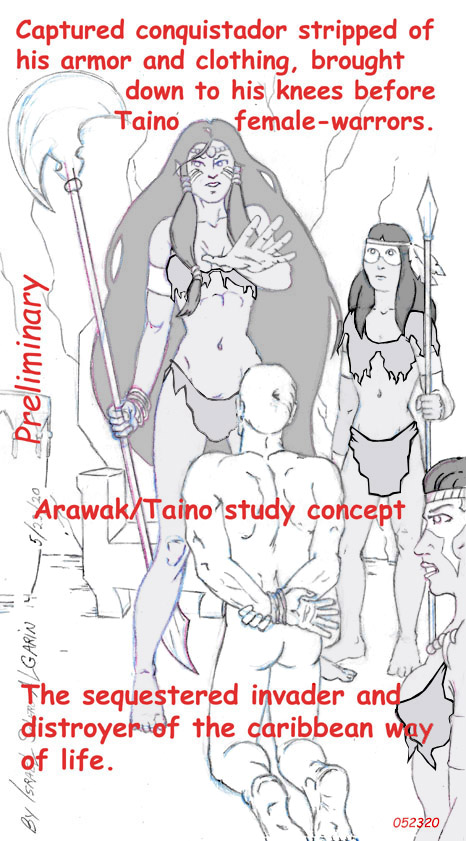 Arawak/Taino: A Captured Invader (pencil) by jira