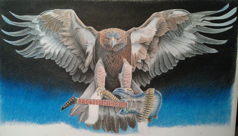 Guitar toting eagle by johnnydraws