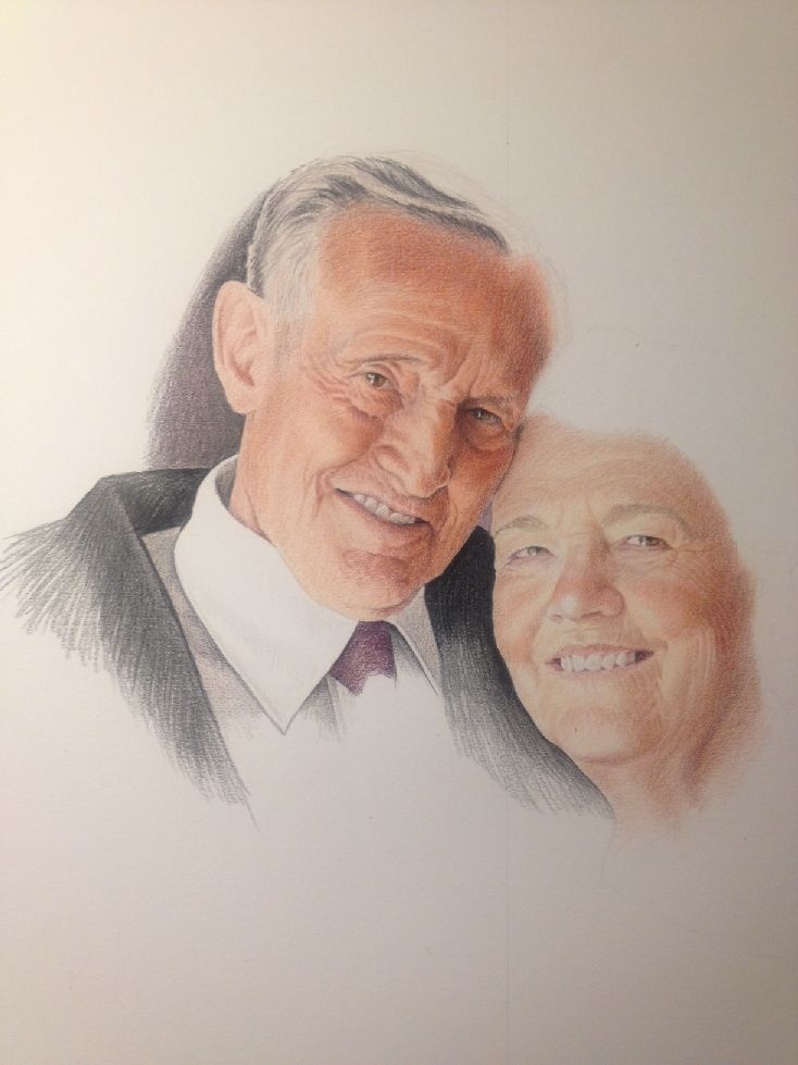 Grandma and Grandpa Wells WIP 2 by johnnydraws