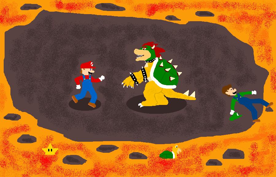 Mario vs. Bowser by johnnyshroom221