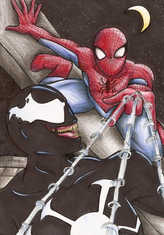 Spiderman vs Venom by jupiterblossem