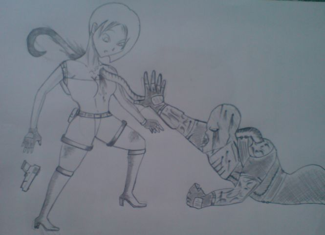 Jill attacked by Nemesis by KathanKratz
