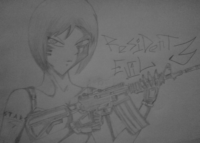 Jill Valentine with M4A1 by KathanKratz