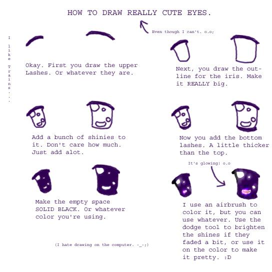 How to draw cute eyes. o.o by KazexLisa