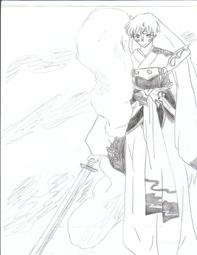 Pencil Sesshomaru by KikyoDepp