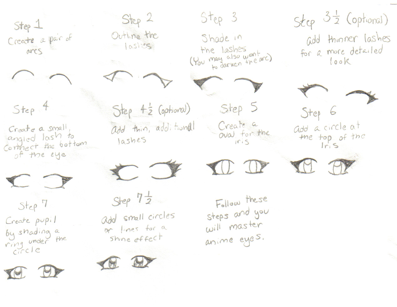 How to draw anime eyes step by step | Draw for kids - YouTube |How To Draw Anime Girl Eyes Step By Step For Beginners