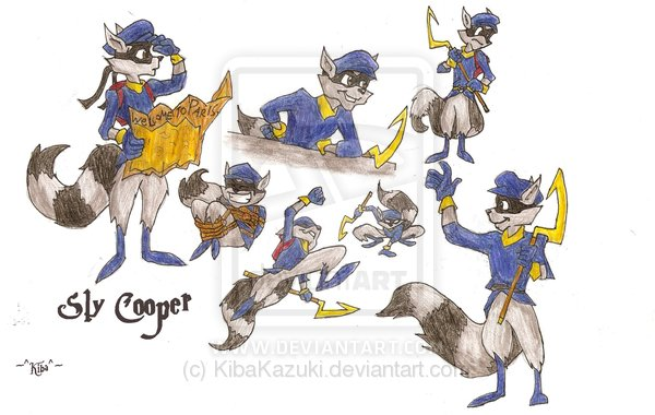 Sly Cooper Sketches by KnucklesEchidna125