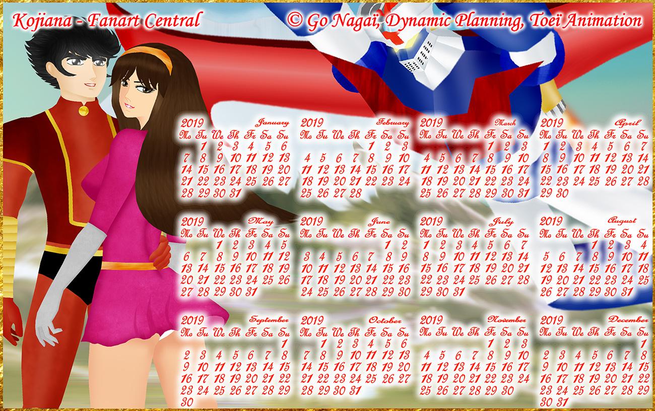Calendar Mazinger Z 2019 by Kojiana