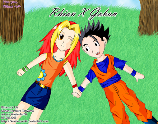 Rhian and Gohan by Krazie-Pan92