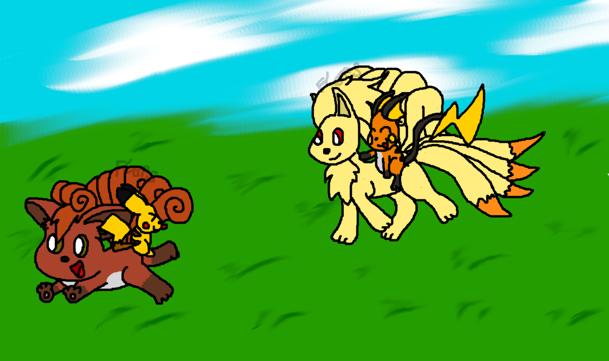 Ninetails and Raichu chase Vulpix and Pikachu by Kuby