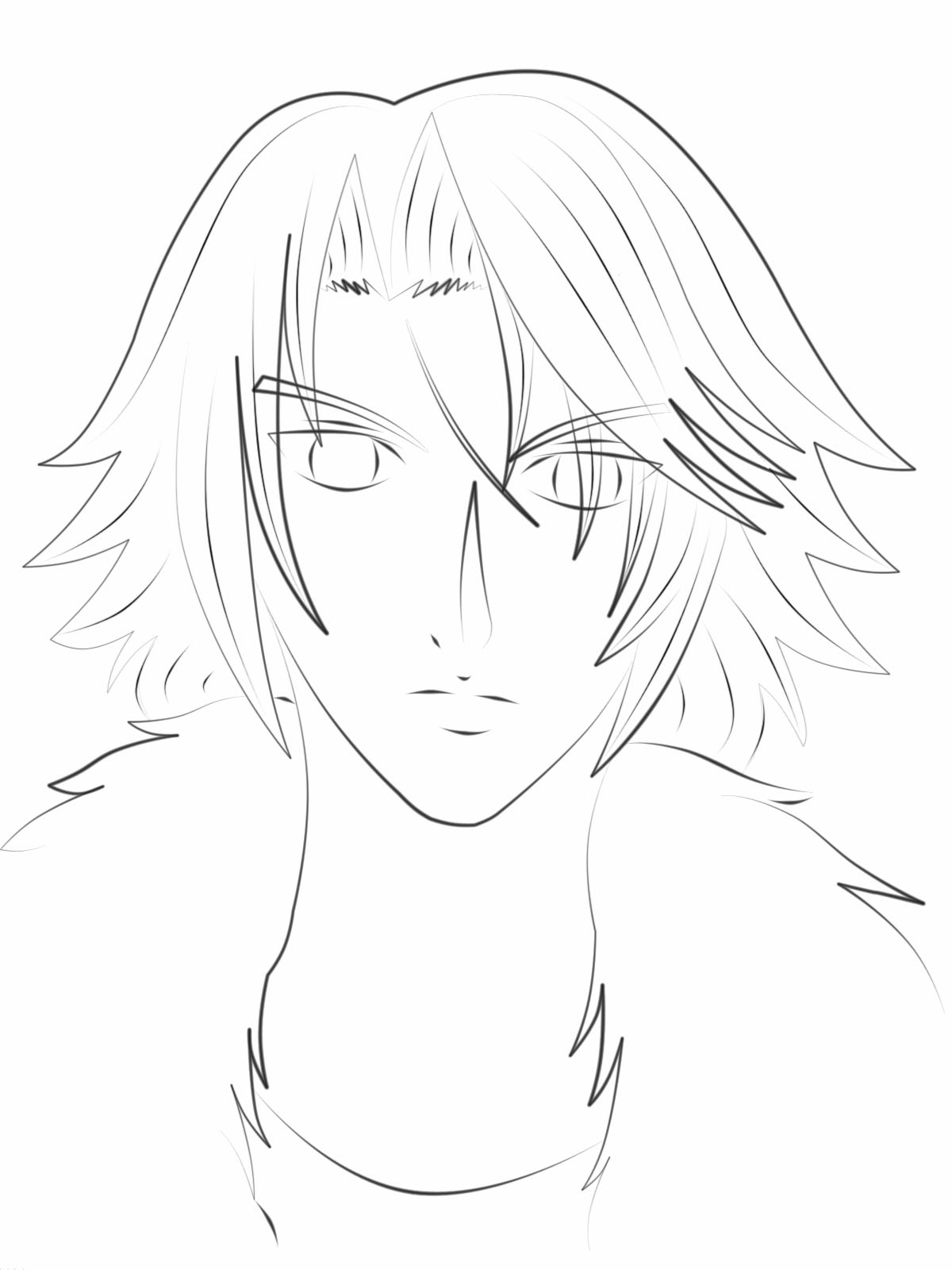 Squall (Leon) Lineart Practice by kamatari17