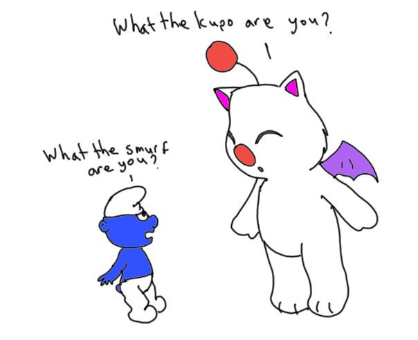 Moogle Meets Smurf by kanna172003