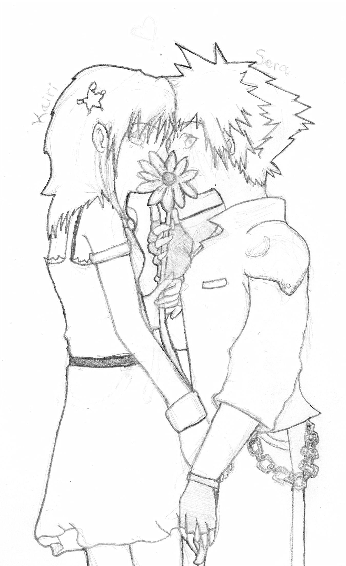 Kairi and Sora by katara719