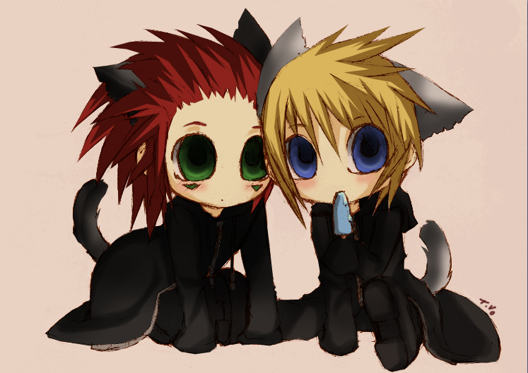 Chibi-Axel and Roxas by kawii011