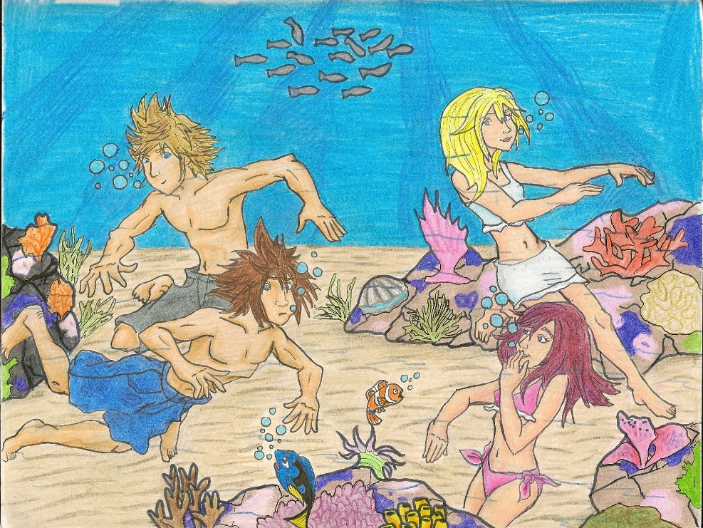 Request for Dumas* Sora, Kairi, Namine and Roxas swimming by killerrabbit05