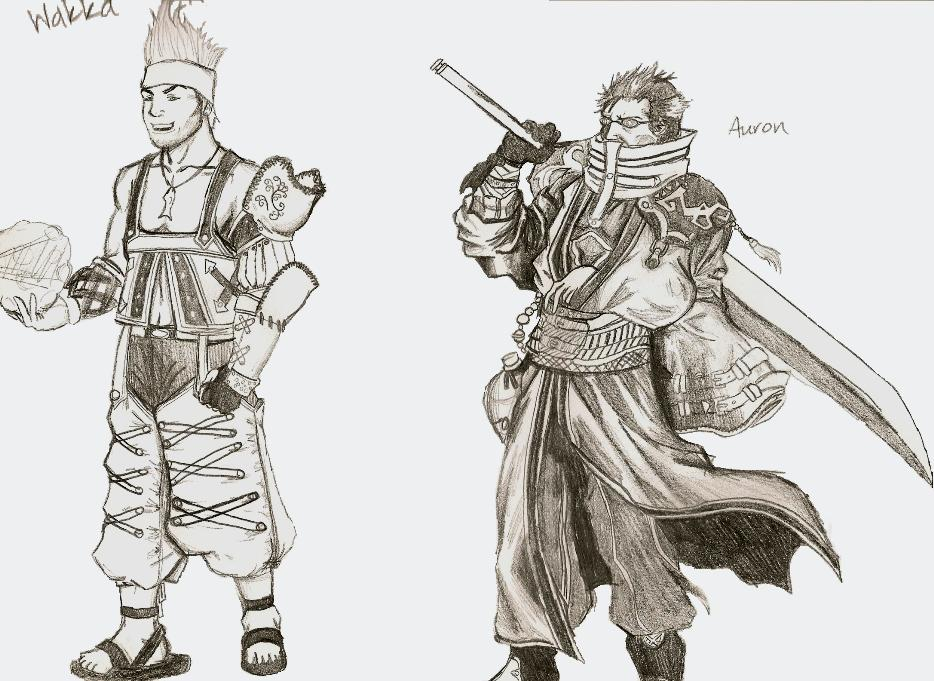 Wakka and Auron reference sketches by killerrabbit05