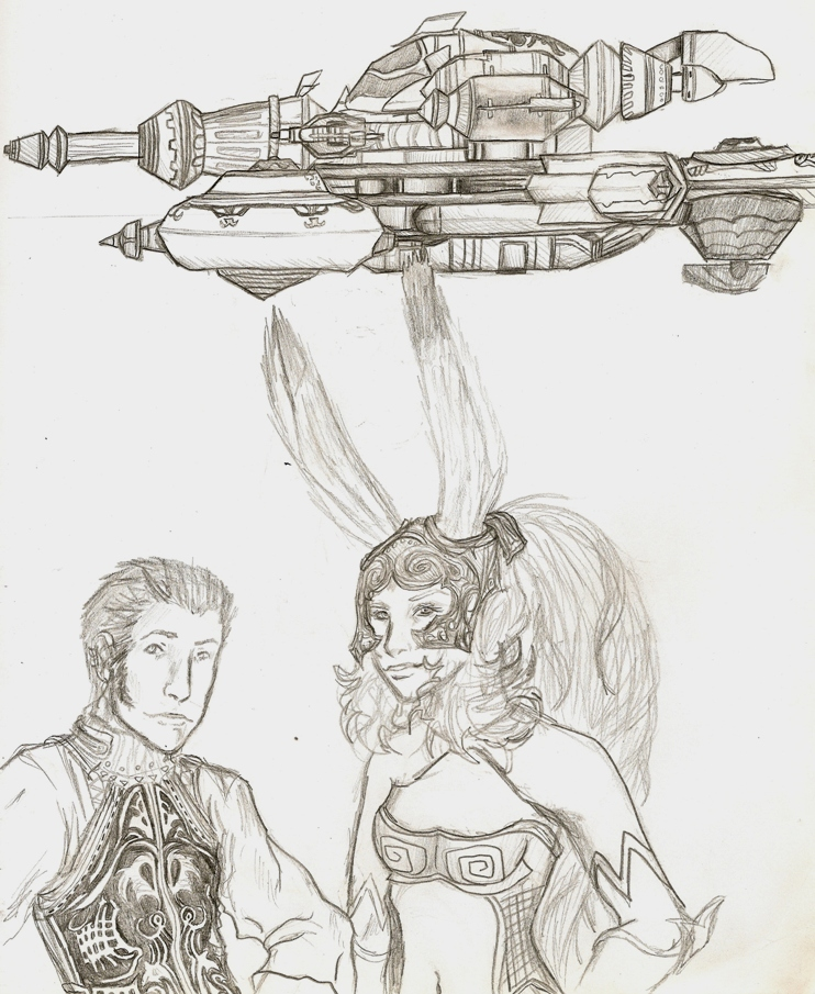 Fran and Balthier Posing with the Strahl by killerrabbit05
