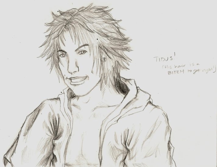 Random Tidus Head Sketch by killerrabbit05
