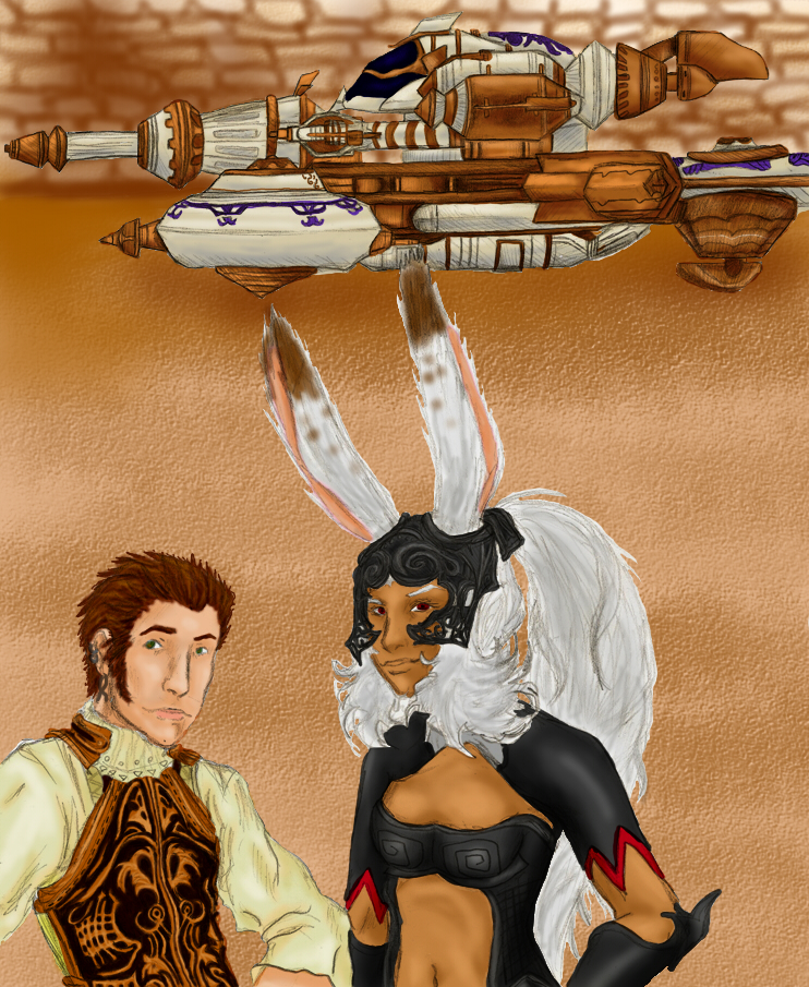 Fran and Balthier Posing in Front of the Strahl by killerrabbit05
