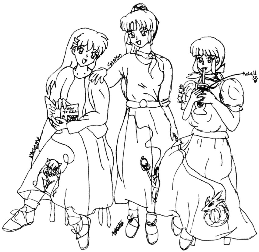 Inuyasha girls in 50's clothes by kittymoon14