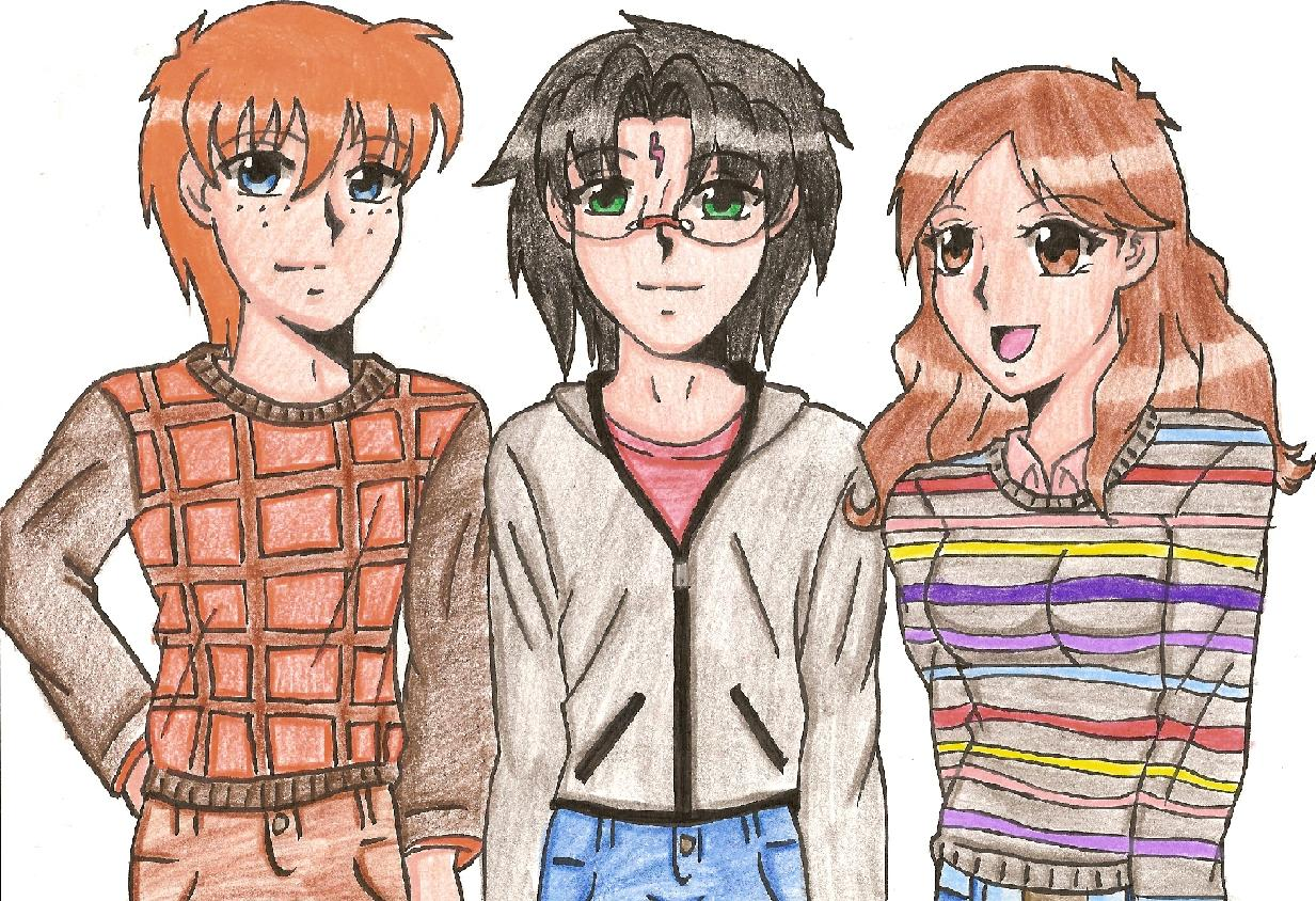 Ron,Harry,and Hermione by kittysan5
