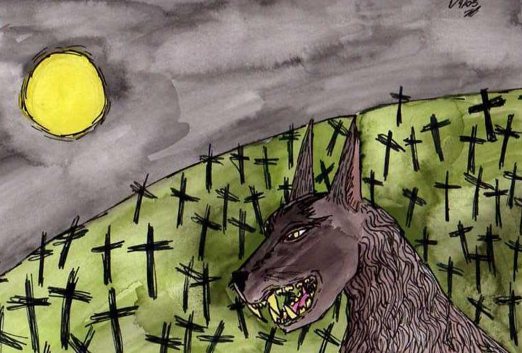 Werewolf in the graveyard by klatch_of_Tyria